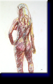 """Angela's Back"", pastel on paper."