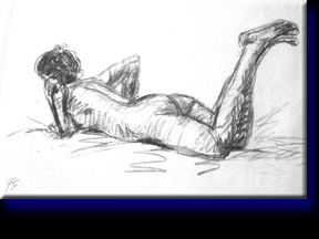 """Female Nude on Stomach"", charcoal on paper."