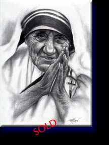 """Mother Teresa"", pencil on paper. Private collection of Winnie L."